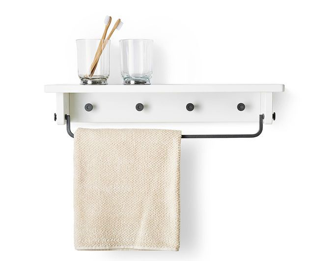 A White Ikea Shelf With Towel Rail And Pegs For The Bathroom