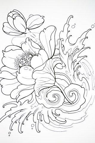 inspiração oriental páginas para colorir - Pesquisa Google   ดอกไม้ ...
