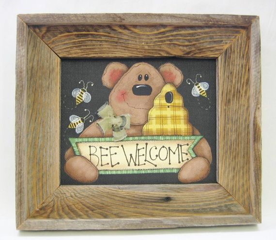 Brown Bear and Bumble Bee Welcome Sign Hand by barbsheartstrokes