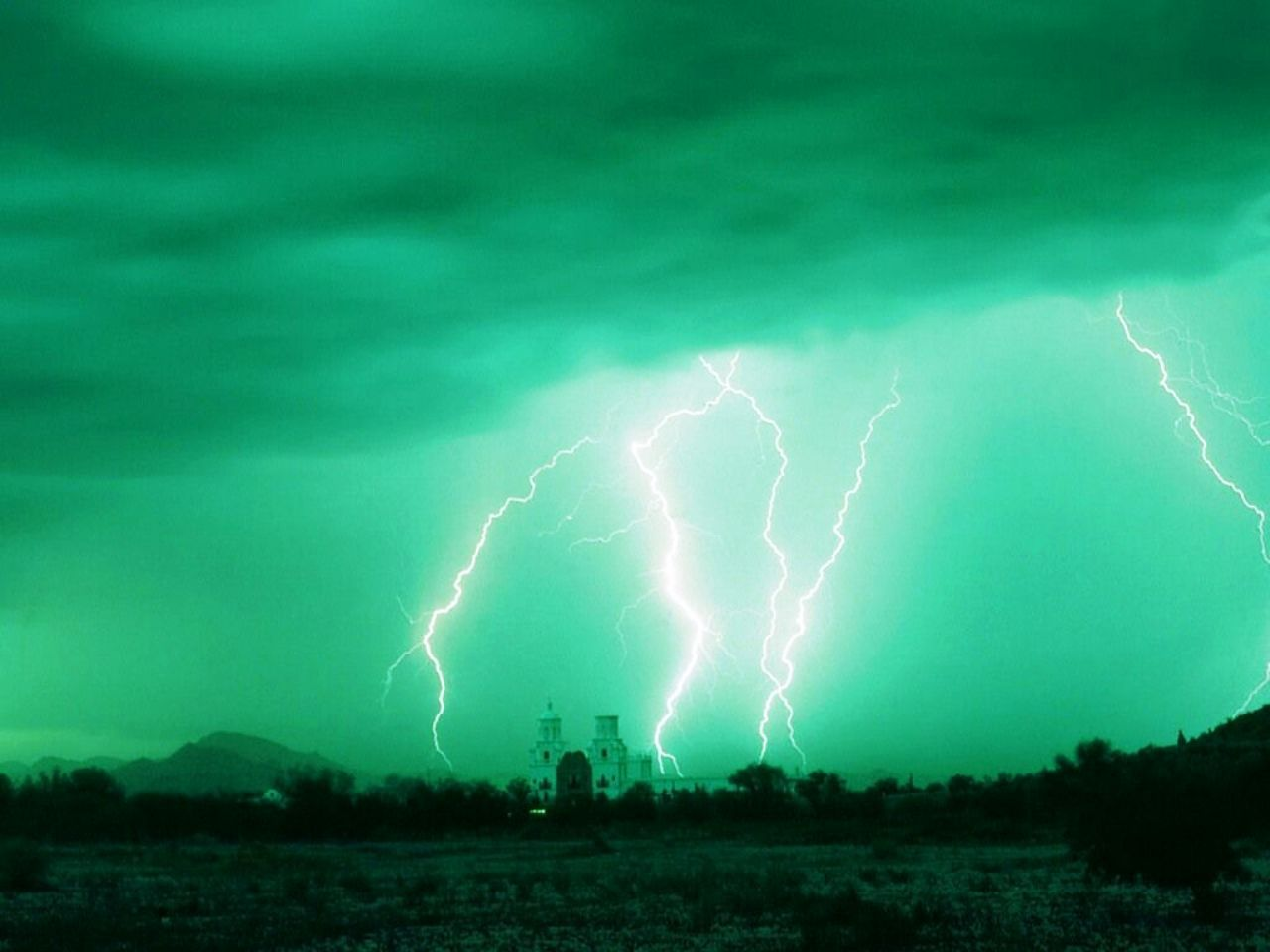 Lightening green background