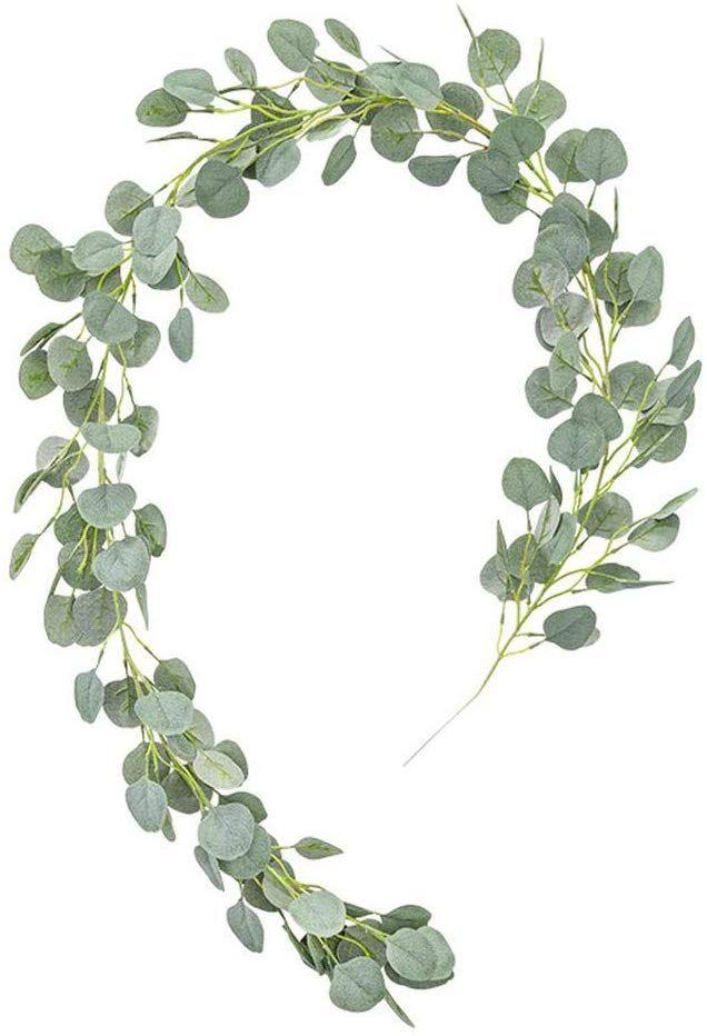 Photo of Artificial Eucalyptus Garland,Simulation Round Coin Eucalyptus Leaves Faux Silk …