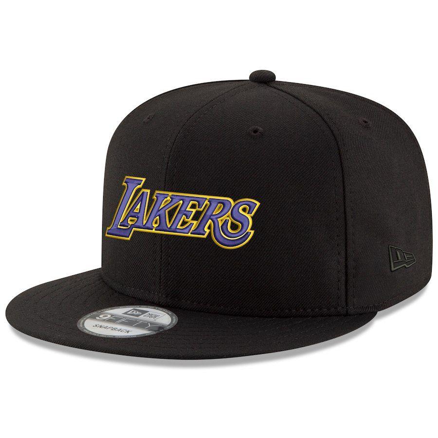 f5297c3dbac75 Men s Los Angeles Lakers New Era Black Wordmark 9FIFTY Adjustable Snapback  Hat
