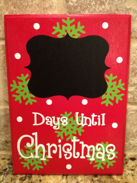 DAYS UNTIL CHRISTMAS Wooden Framed Chalkboard Red White Snowflakes