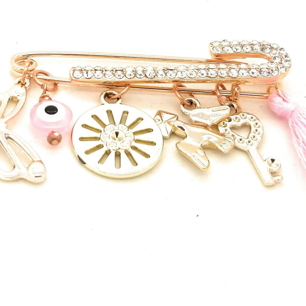 Luxury rose gold safety pin advertise your small business here