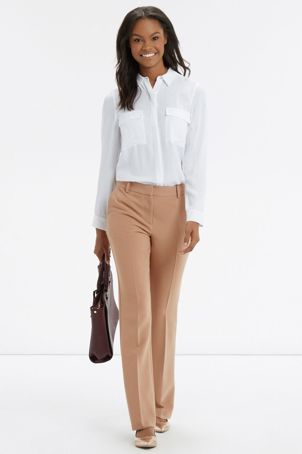CREPE BOOTCUT TROUSER | Natural | Oasis Stores