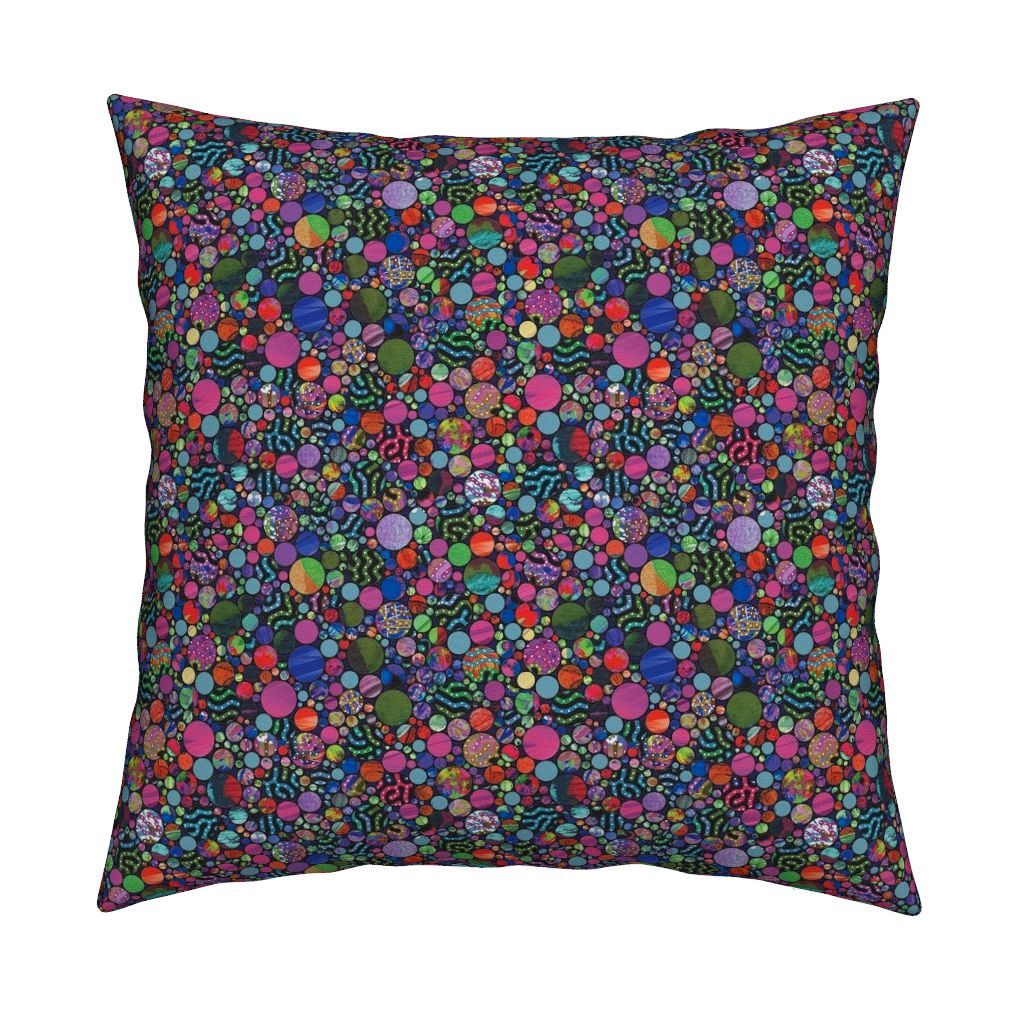 Catalan Throw Pillow featuring PROFUSION CIRCLES BUBBLES PINK by paysmage | Roostery Home Decor