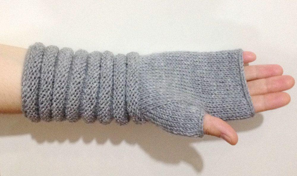 Grey Wool Gloves, Knitted Fingerless Gloves, Grey Knit
