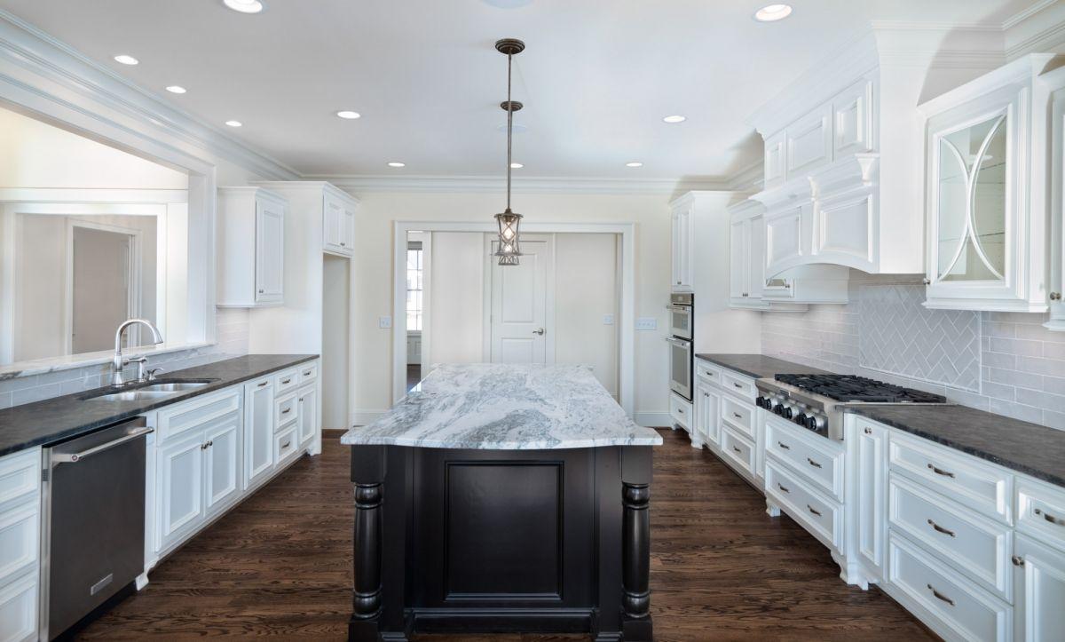 Dream Kitchen White Cabinets Dark Center Island Marble And