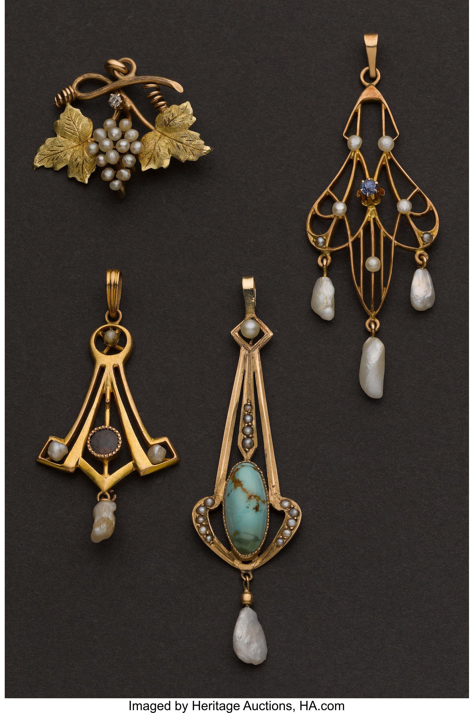 Four Antique Drops Total 4 Items Estate Jewelry Pendants Lot 71020 Heritage Auctions Art Nouveau Jewelry Art Nouveau Pendant Art Deco Jewelry