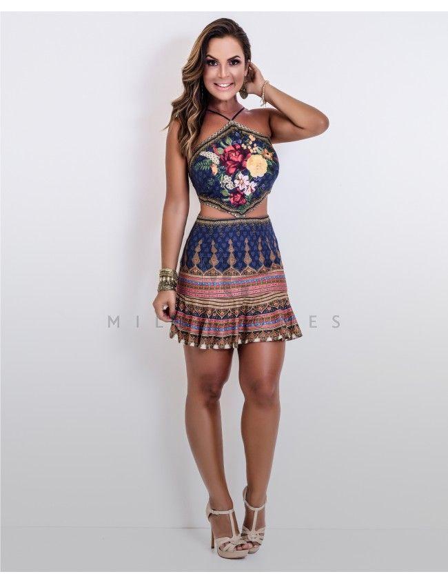 7b1c28232 Vestido Curto Vazado Doralice Lenço Farm   roupas   Pinterest   Moda ...