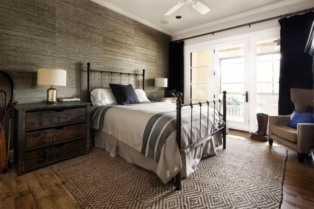 Wandgestaltung tapete steinoptik schlafzimmer vintage stil architektur pinterest - Rustikales schlafzimmer ...