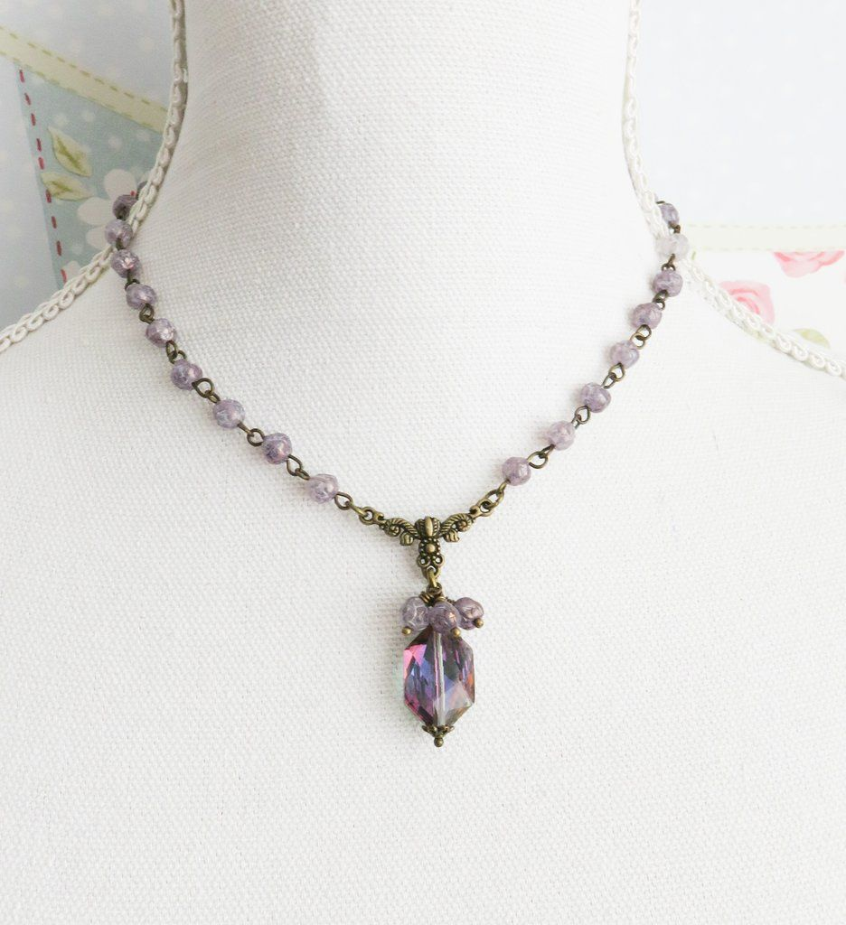 Purple victorian necklace neo victorian jewelry