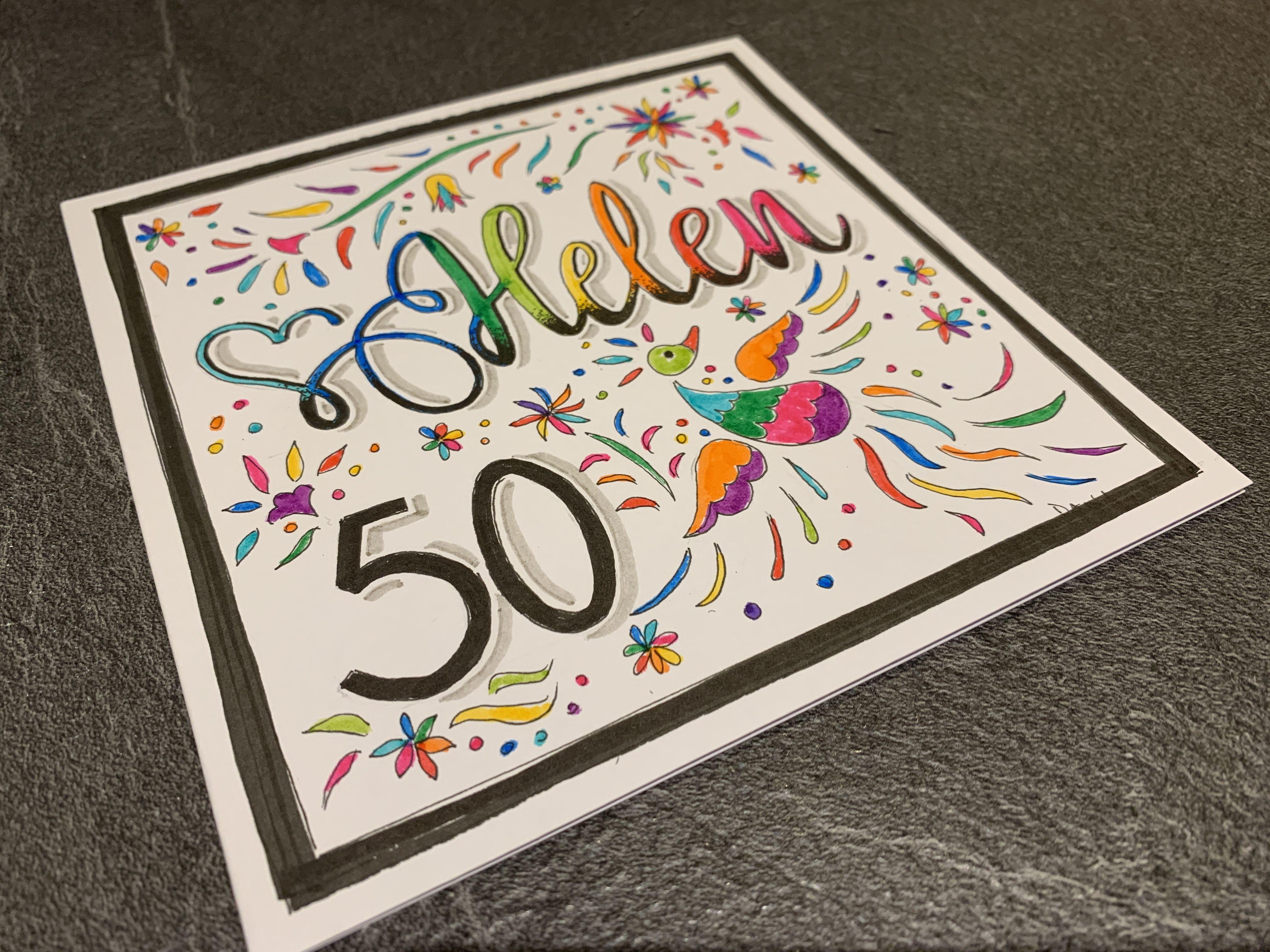 50th Birthday Card Personalised 50th Birthday Cards Birthday Cards Personal Cards