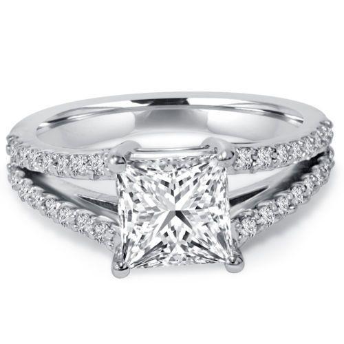 2-35CT-Princess-Cut-Split-Shank-Diamond-Engagement-Ring-14K-White-Gold