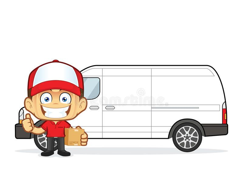 Delivery Man Courier In Front Van With Cardboard Boxes Clipart