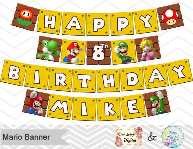 Digital File Super Mario A Z Happy Birthday Banner All Letters Super Mario Party Birthday Printable Invitation Kits Invitations Announcements