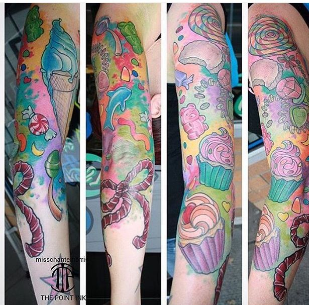 Candy Tattoo Designs Candy Tattoo Meanings And Ideas Candy Tattoo Gallery Candy Tattoo Half Sleeve Tattoo Half Sleeve Tattoos Designs