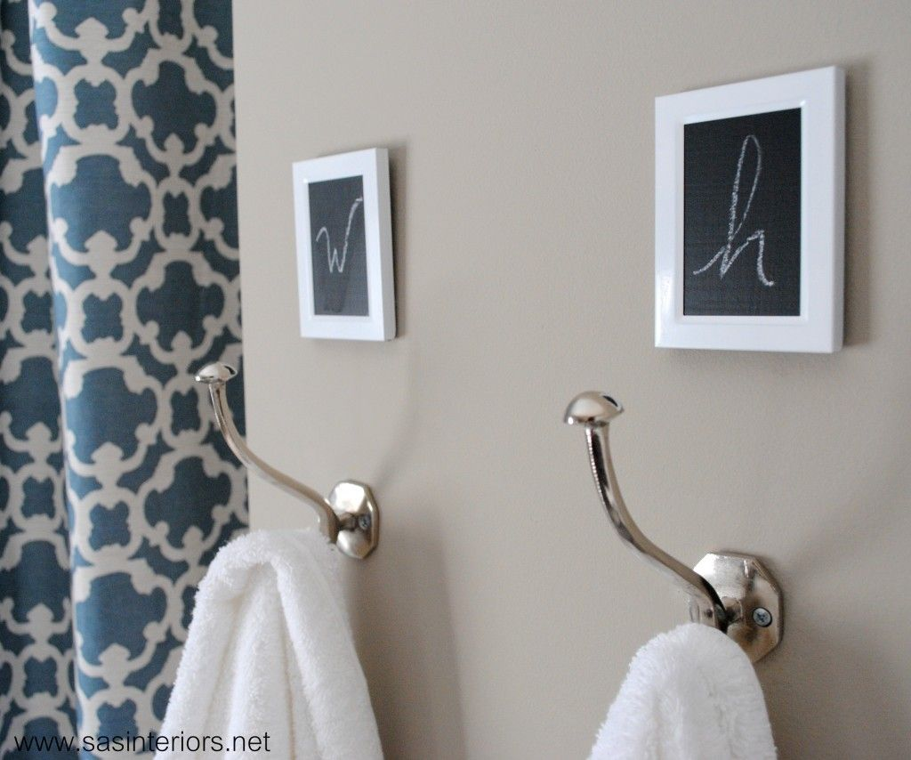 Towel Hooks ~ Add Small Frames Above The Hooks, Spray Paint White And Paint  The