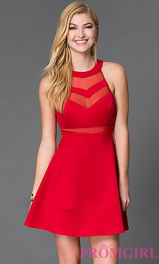 Red Party Dress by Emerald Sundae with Sheer Panels at PromGirl.com ...