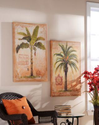Island Palm Outdoor Canvas Art Print, Set of 2   Kirklands
