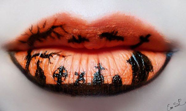 Макияж для губ на Хэллоуин   Помада искусство, Макияж губ ...