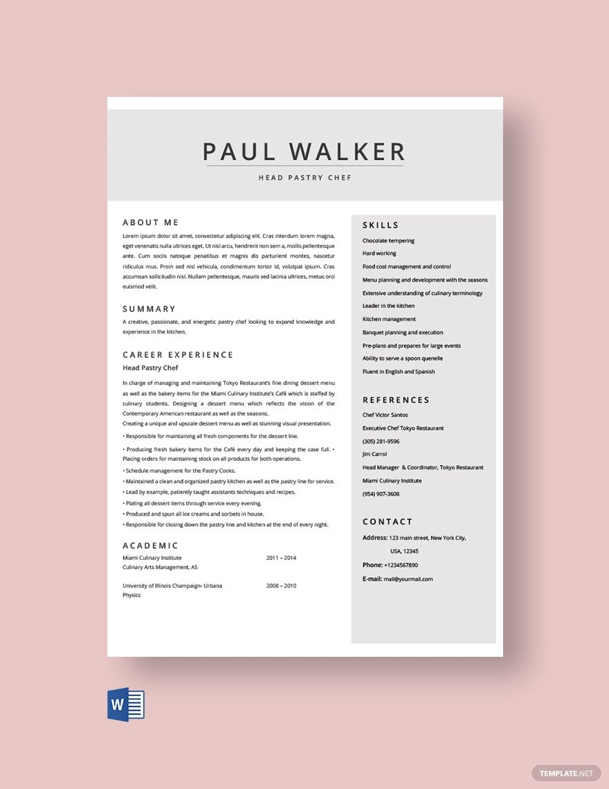 Free Pastry Chef Resume Template in 2020 Chef resume