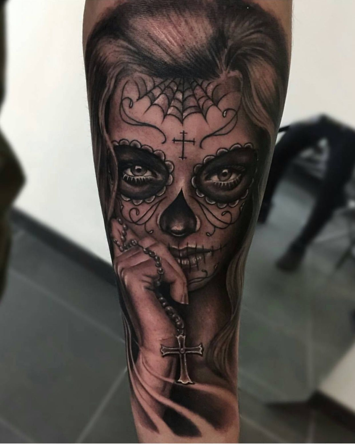 Catrina And Rose Tattoo: Day Of The Dead With Rosary