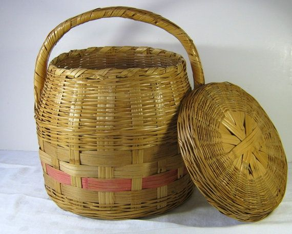 Vintage Wicker Basket with Lid Snake Charmer Style Handle