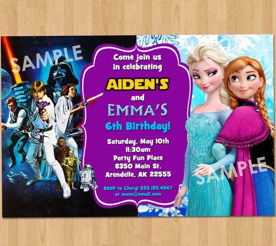 Double Birthday Party Invitation Star Wars by KidsPartyPrintables I - invitation birthday frozen