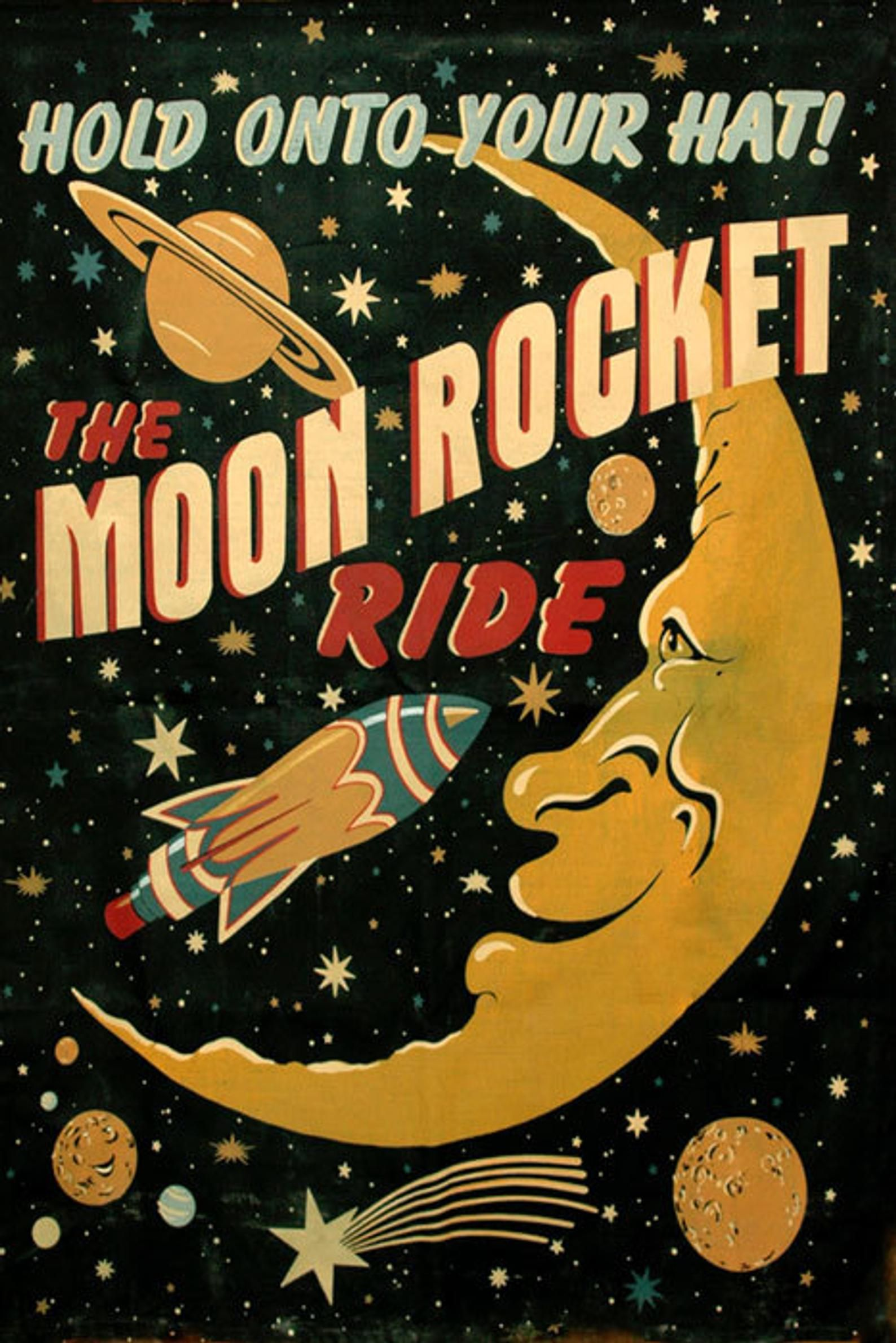Sci-Fi Moon Saturn Comet Rocket Spaceship Astronaut Travel Space Vintage Poster Repro Free S/H in USA