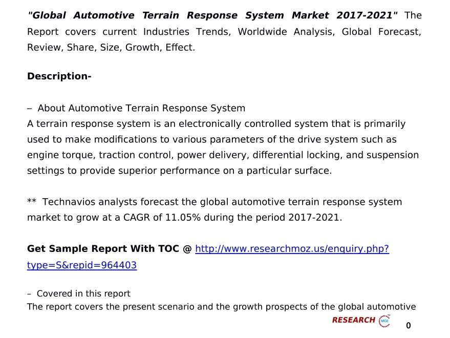 Global Automotive Terrain Response System Market  The