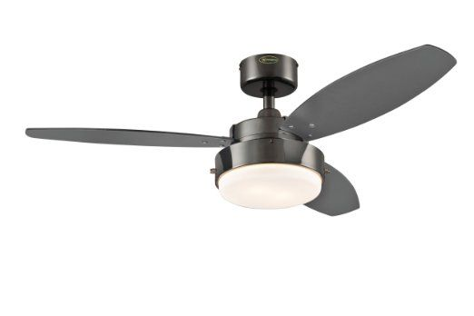 Amazon.com: Westinghouse 7876400 Alloy Two-Light 42-Inch Reversible Three-Blade Indoor Ceiling Fan, Gun Metal with Opal Frosted Glass: Lamps...