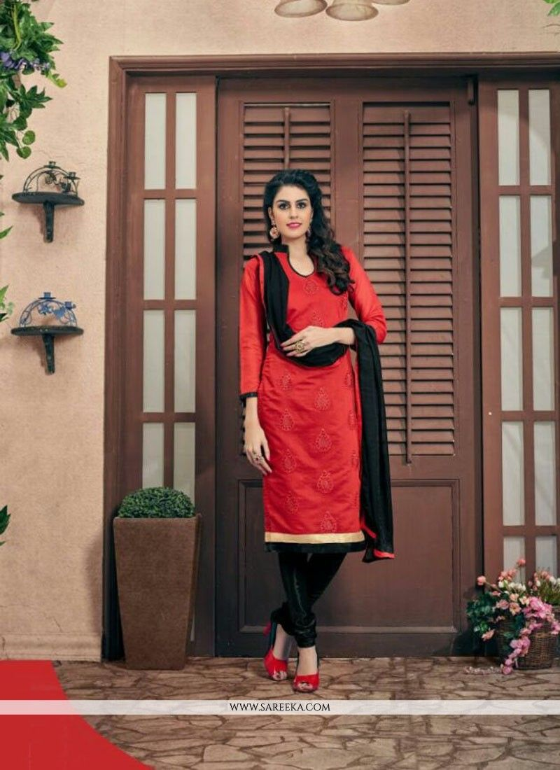 Make the heads turn after you costume up with this red chanderi cotton churidar designer suit. Beautified with embroidered and resham work all synchronized effectively through the trend and design of ...