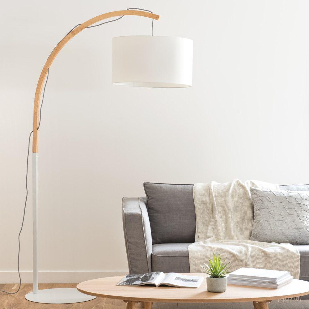 Stehlampe Aus Eiche Und Lampenschirm Aus Heu: Stehlampe Mit Weißem Lampenschirm H.190cm