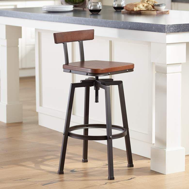 Roark Dark Wood And Bronze Adjustable Swivel Barstool 4v952 Lamps Plus Bar Stools Small House Interior Design Industrial Style Decor