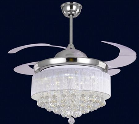 Hidden Acrylic Blades Ceiling Fans With Chandelier Crystal Led