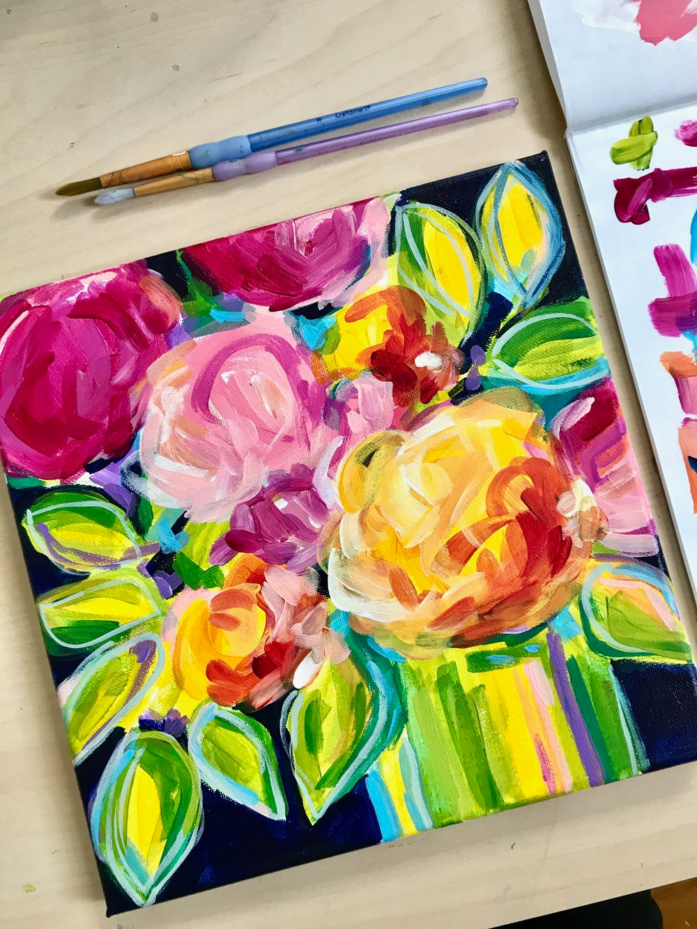 Learn How To Paint Easy Abstract Flowers On Canvas With Acrylic