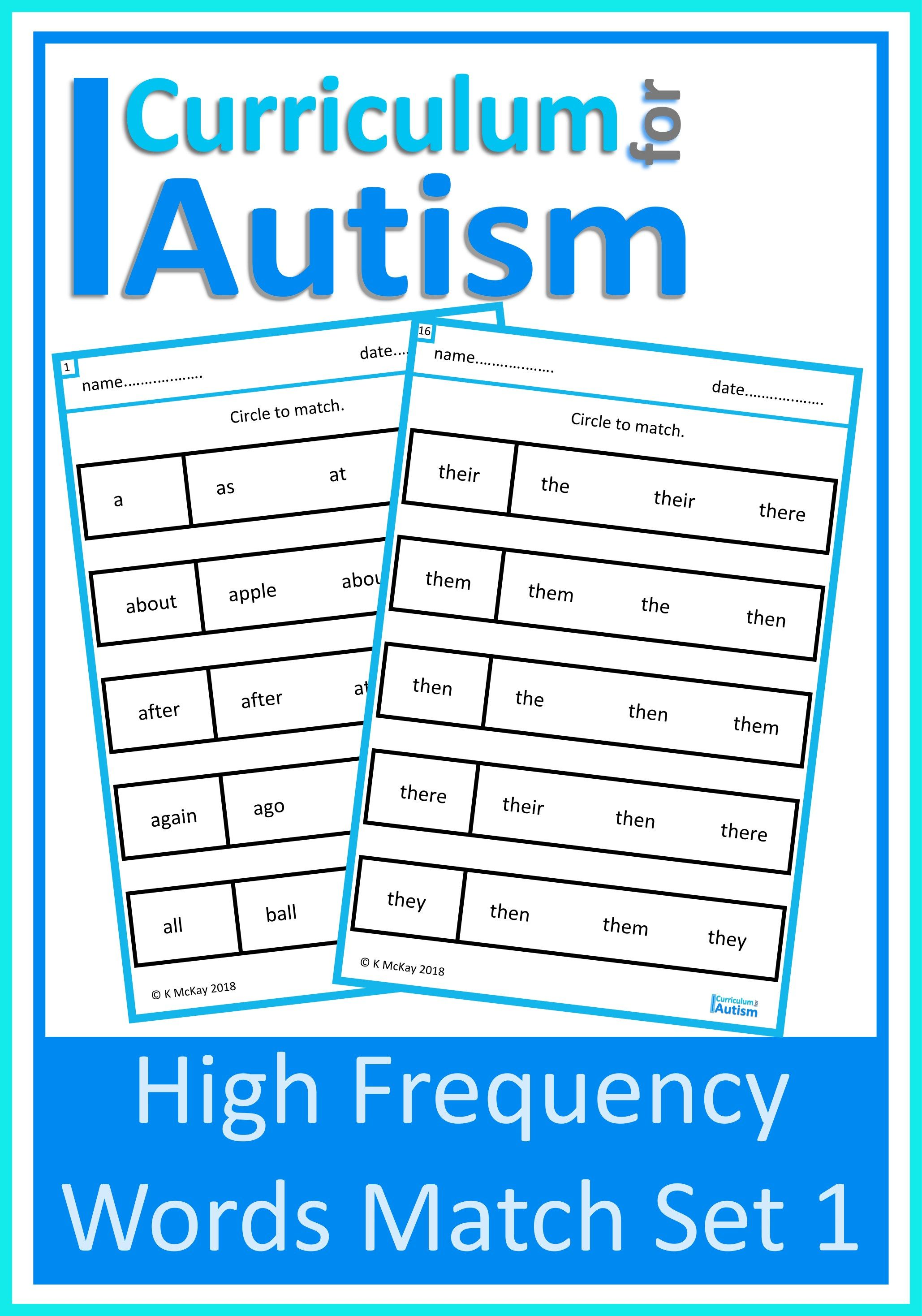 Read Amp Match High Frequency Words