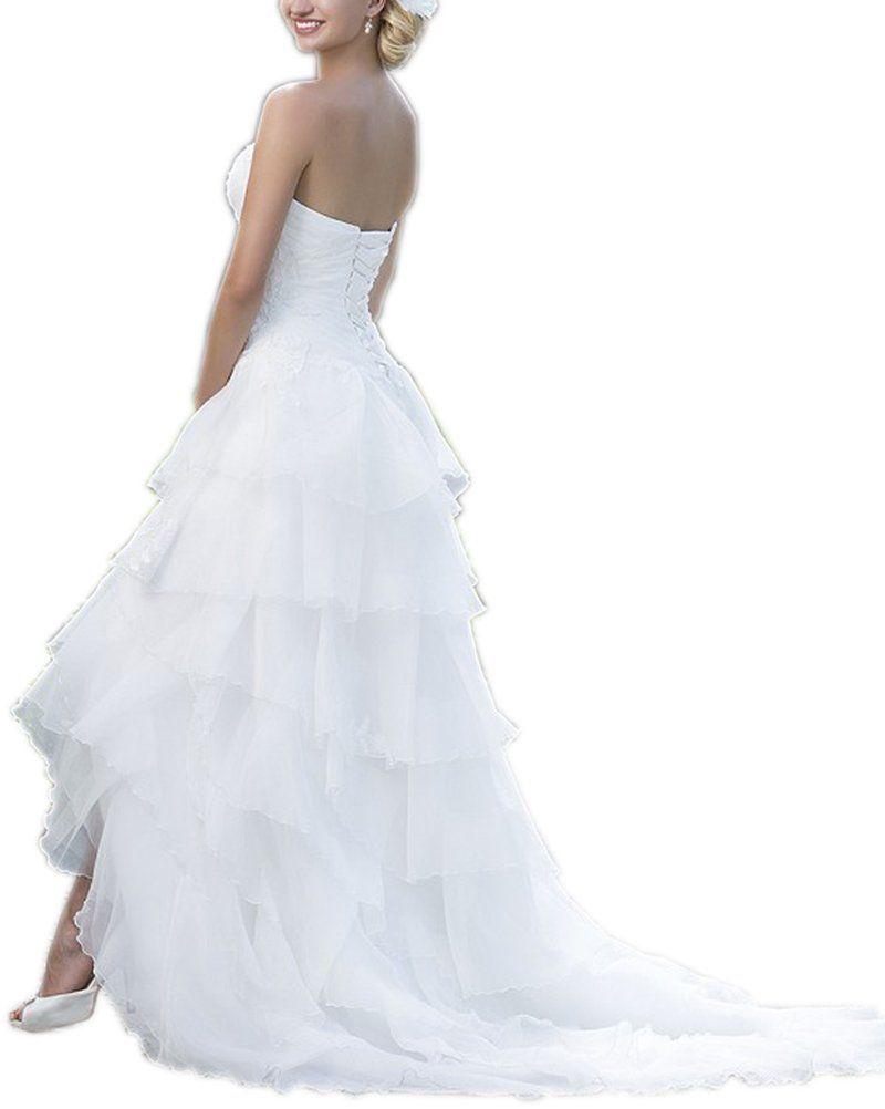 Kimbridal sexy high low beach wedding dress for bride organza