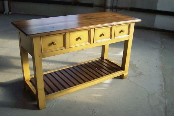 Custom Made European Huntboard Console Tables In Mustard Color