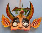 Fierce Vintage Bolivian Devil Mask with Dragon - for photo shoot, wall hanging - recycled tin. $450.00, via Etsy.