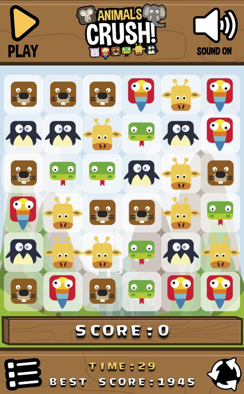 Animals Crush Match3 HTML5 Game + Android + AdMob