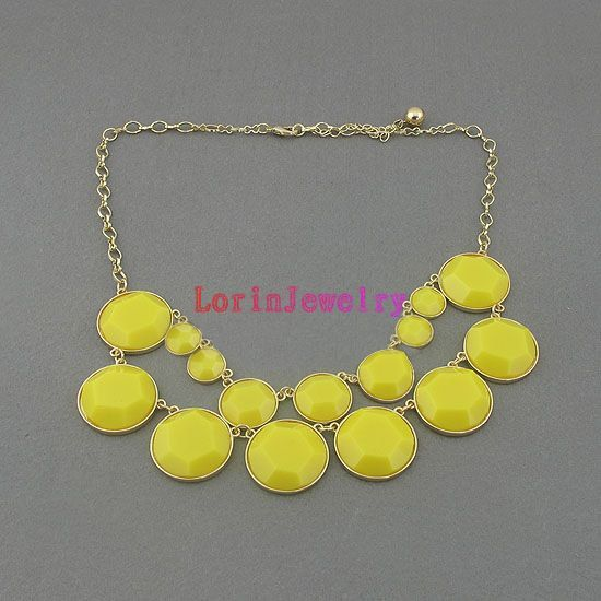 yellow bubble  Necklaces with extended by LorinJewelry on Etsy, $13.00