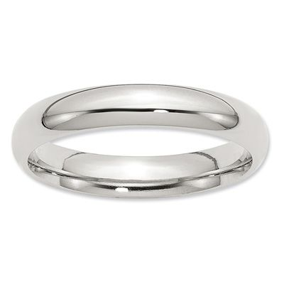 Zales Previously Owned - Mens 4.0mm Diamond-Cut Comfort Fit Band in 10K White Gold 0011fOd
