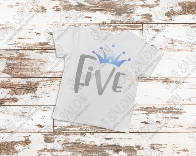 Five Year Old Birthday Star Crown Cut File in SVG, EPS, DXF, JPEG, and PNG