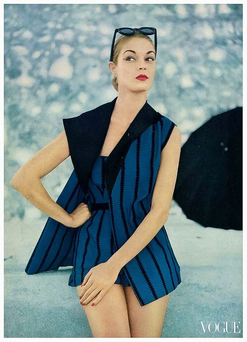 1fa0daee31620 Jean Patchett in a vintage swimsuit with matching cover-up for Vogue ...