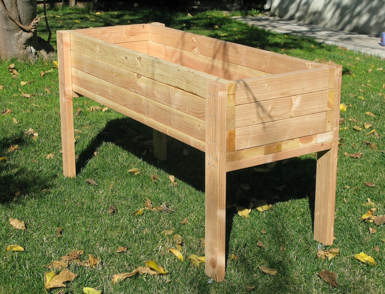 Accesories,Inspiring Planter Box Ideas In Portable Type Built From Teak Wood  Material With High Legs Construction In Garden With Green Grass,Lovable  Planter ...