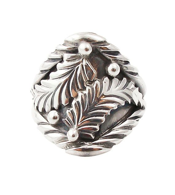 Womens Navajo Silver Leaf Design Ring Size 85 Authentic Native