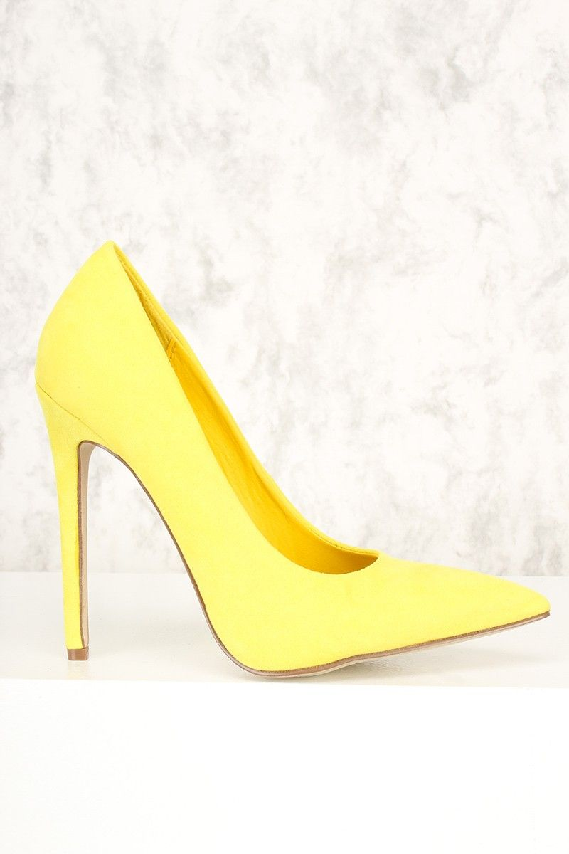 f87d908b12d Sexy Yellow Single Sole Pump High Heels Faux Suede | ABOUT LAST ...