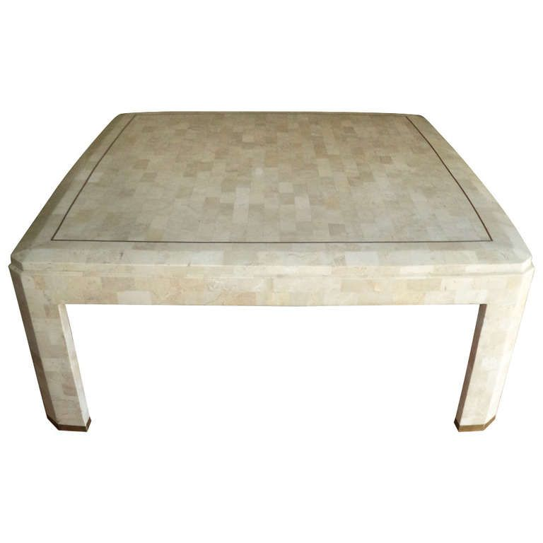 Maitland Smith Square Tessellated Fossil Stone And Marble Coffee Table From A Unique Collection Of